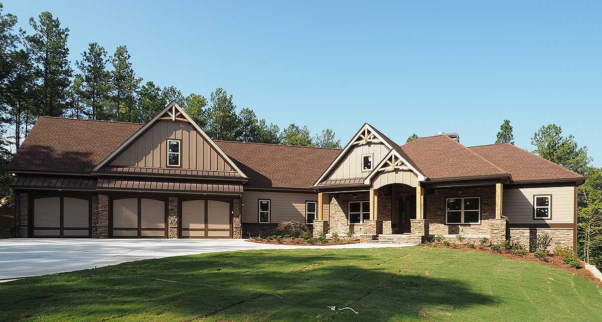 Plan 36075DK: Craftsman House Plan with 3 Car Angled