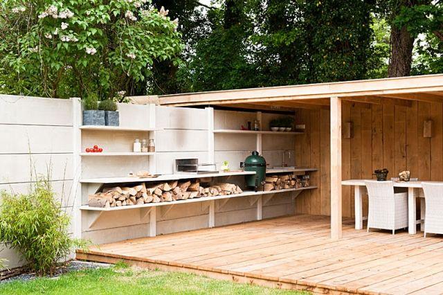 Beton Outdoor Küche Big Green Egg-BBQ-oneQ Gas-Grill Ofen garten - kuche im garten balkon grill