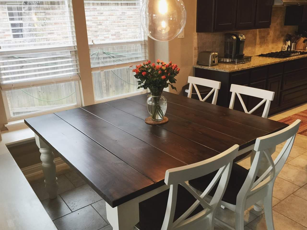 farm style kitchen table Square Baluster Table in Farmhouse Style Kitchen with X Back Dining Chairs https
