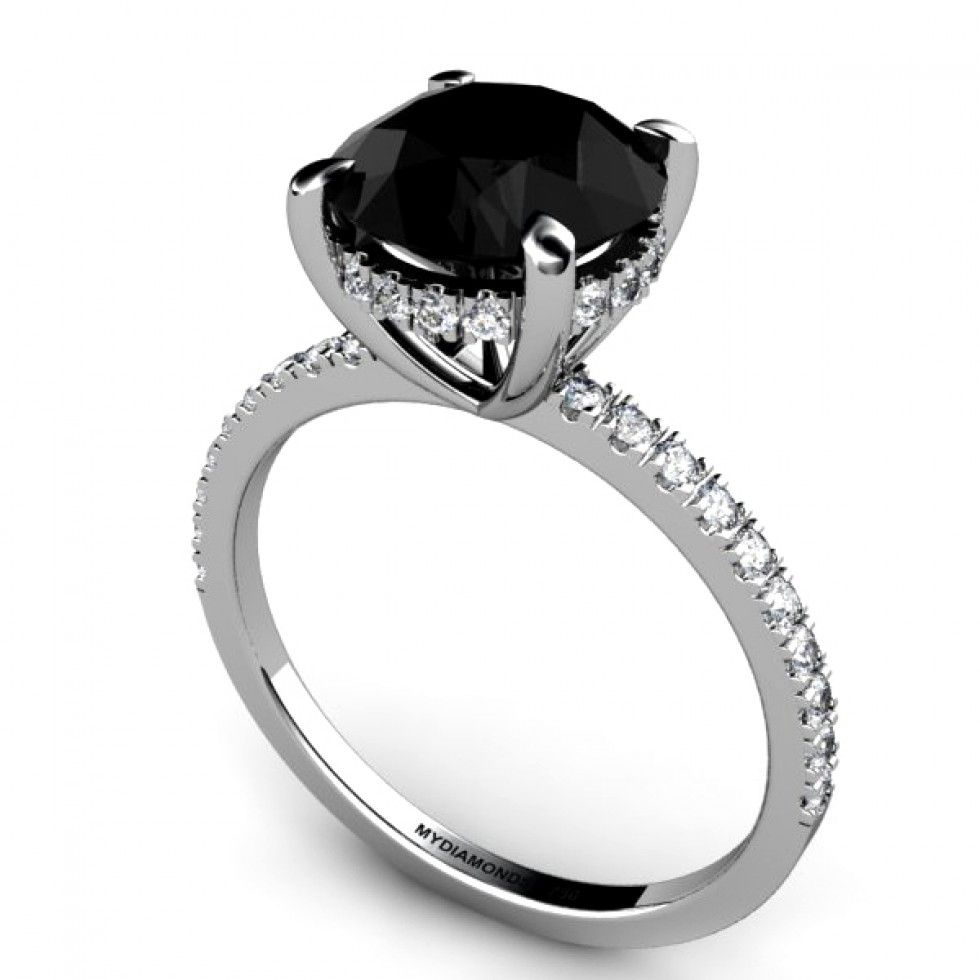 black wedding band sets A seductively beautiful design with a premium carat AAA grade black diamond held in a 4 claw setting Ring of white diamonds set to the side of the setting