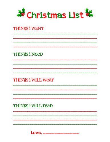 Christmas Wish List Printable Christmas list printable, Free - christmas checklist template