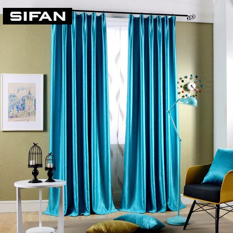 Sparkle blue \/ yellow Pearl cashmere Blakcout Curtains for Living - teal living room curtains