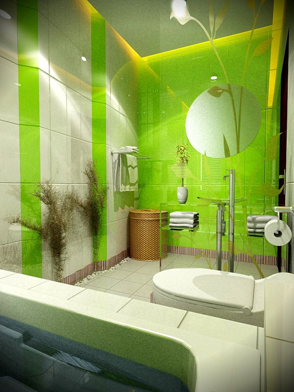 Various Design Of Fantasy and Artistic Bathroom  Green And White - green bathroom ideas