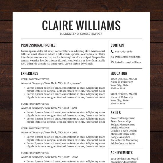 ☆ Instant Download ☆ Resume Template \/ CV Template for MS Word - download resume templates word