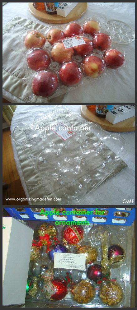 Use an apple container to organize Christmas ornaments Organized - how to store christmas decorations