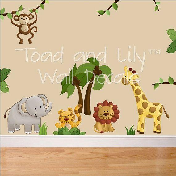 Fabric WALL DECALS Jungle Animal Safari Girls Boys Bedroom