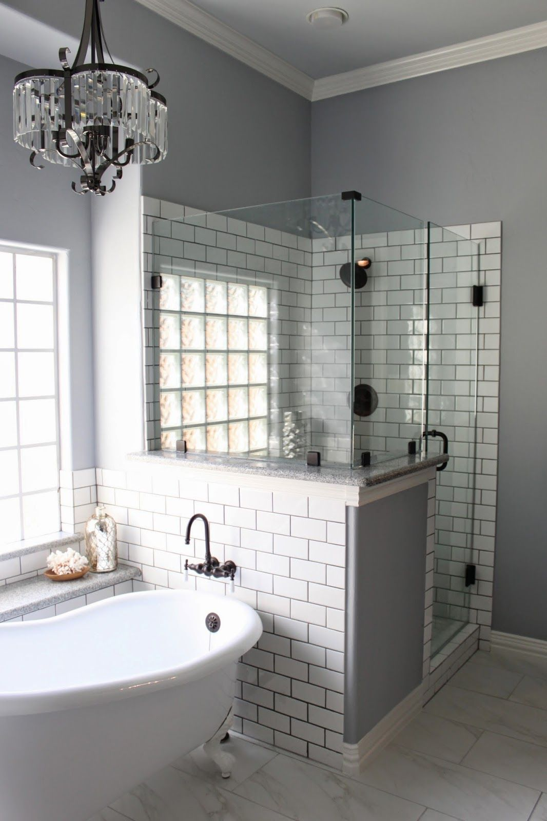 Gray White Bathroom Tile Master Bath Remodel Grey Grout White Subway Tiles And Grout