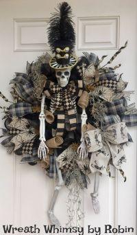 XL Halloween Skeleton Deco Mesh Wreath in Tan & Black ...