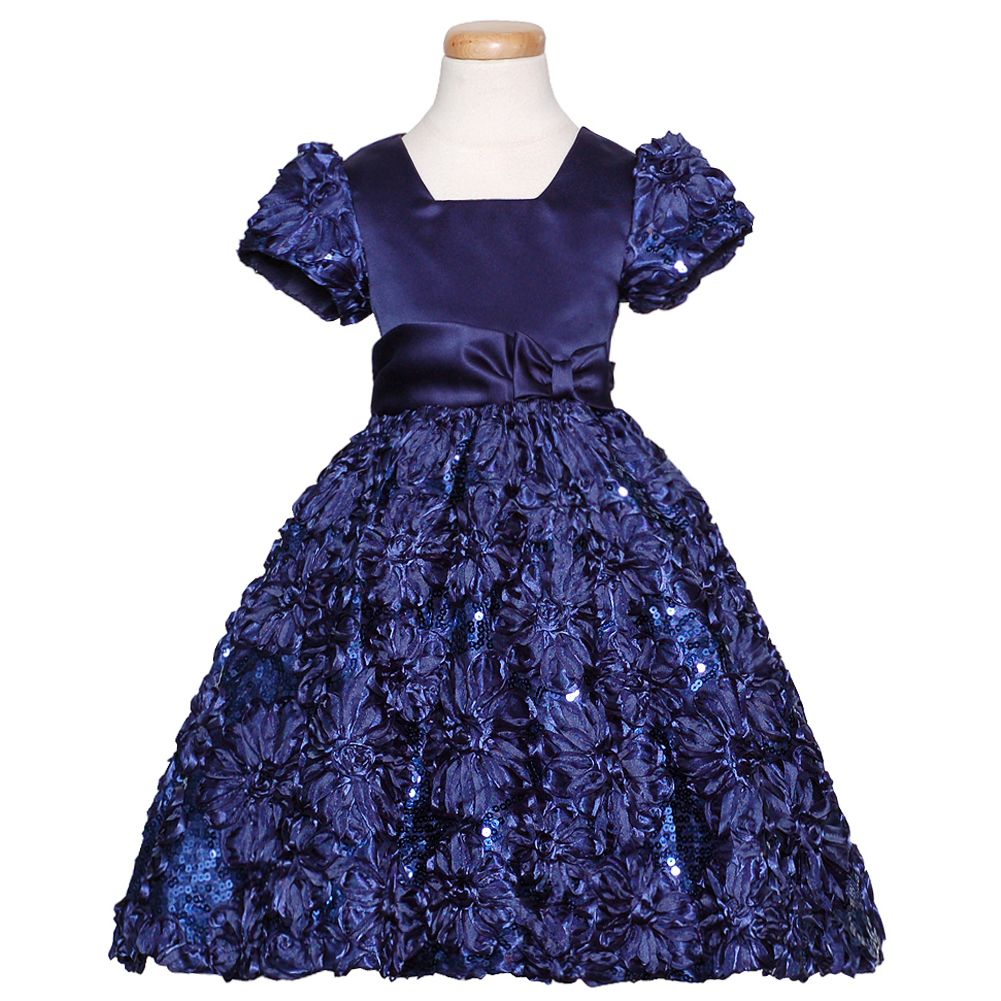 Details about rare editions navy blue sparkle floral christmas dress girls 3m 4t