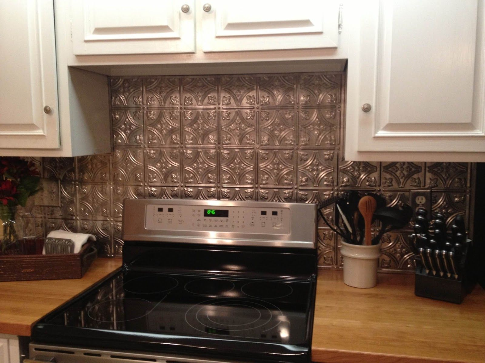 Diy Rustic Backsplash Cool Diy Faux Tin Kitchen Backsplash With Vase Top 12