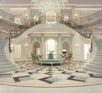 Luxury Mansion Interior Grand Double-Staircased Foyer ...