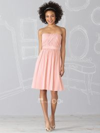 Short Bridesmaid Dresses | Mini Pink Chiffon Strapless ...