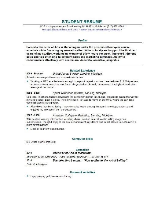 resume sample the correct way writing college student examples gif - resume examples for college student