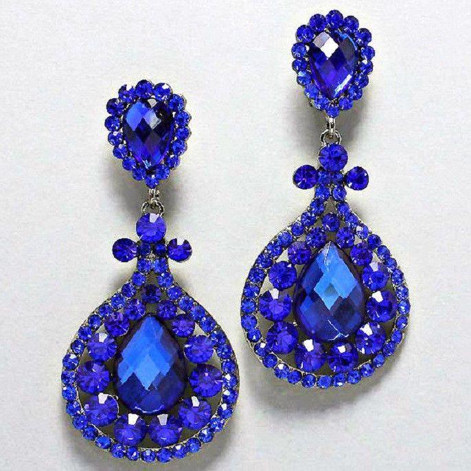 Blue Crystal Chandelier Rhinestone Clip on Bridal Drag