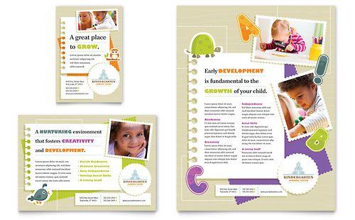 Kindergarten Flyer \ Ad - Microsoft Word Template \ Publisher - microsoft word templates for brochures