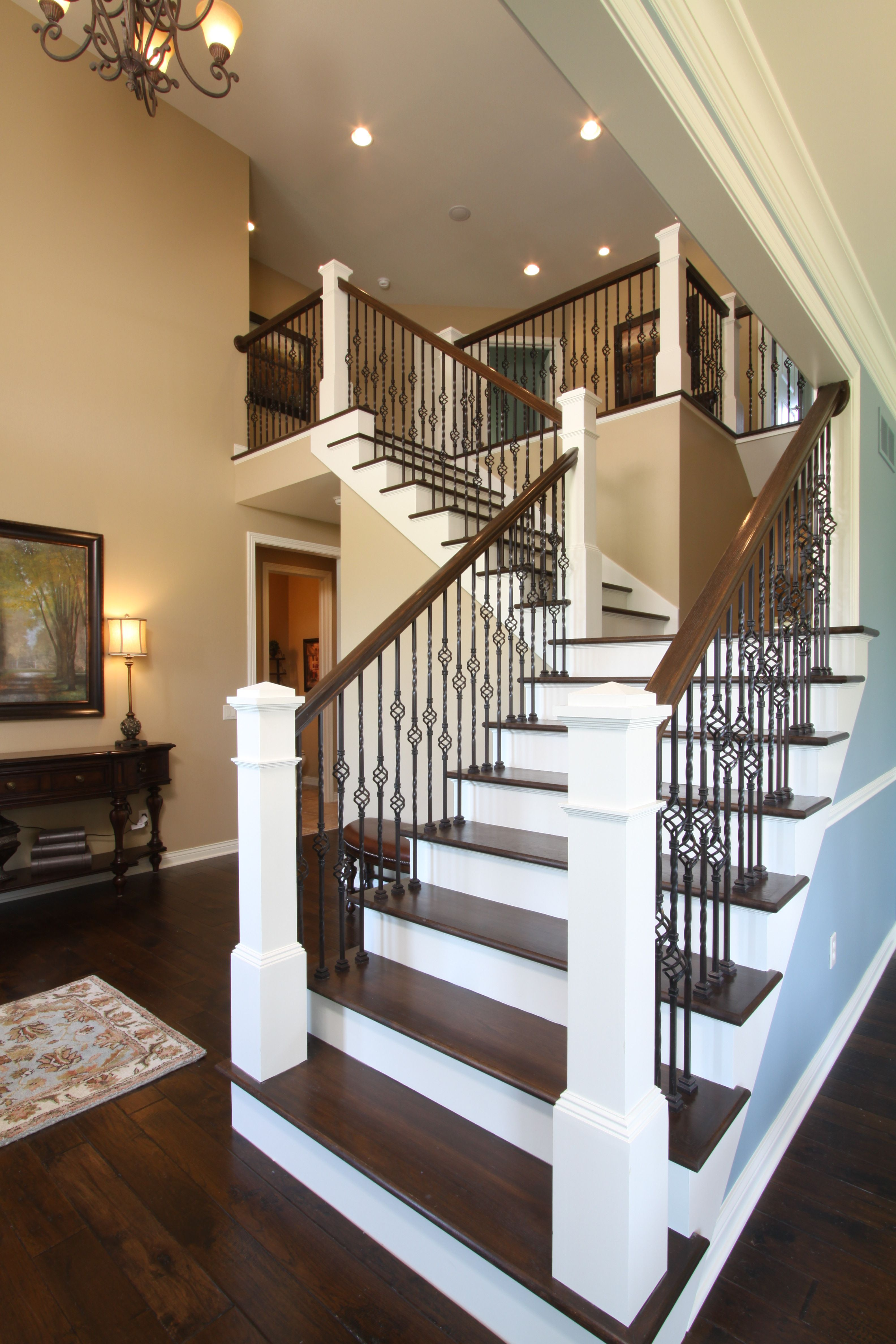 Open Staircase Design Open Railing Stairs With Wrought Iron Balusters Avbinc