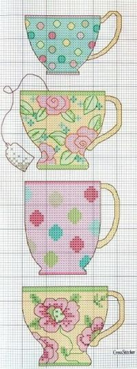 Teacups free cross stitch patterns | Tea and cakes ...