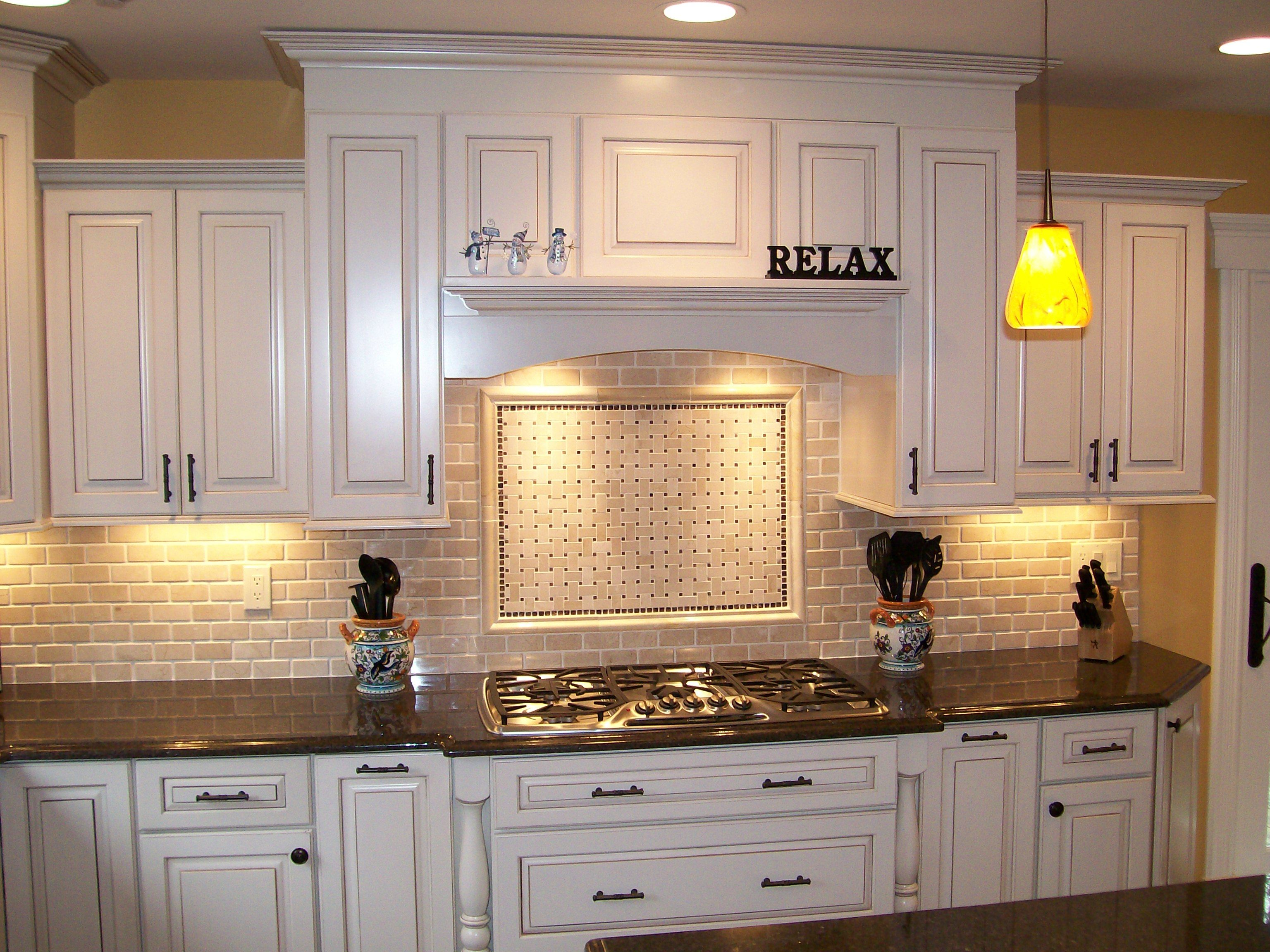 kitchen backsplash ideas white cabinets kitchens with white cabinets Kitchen Nice Brick Backsplash In With White Cabinet And