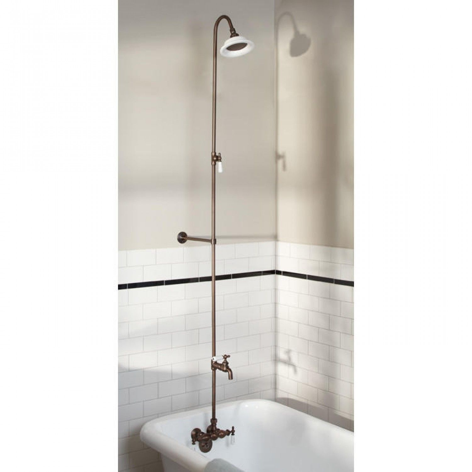 This exposed pipe shower comes with everything you need including faucet with cross handles