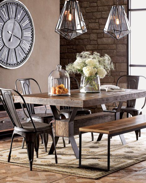 Create a warm industrial living space Industrial dining rooms - living spaces dining room sets