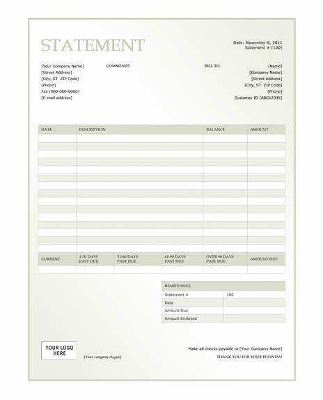 Free Billing Invoice Template Free green billing statement - billing statement template