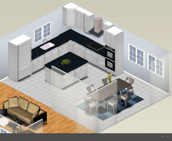 L Shaped Kitchen Designs With Island Shaped Kitchen Plan - kitchen design plans