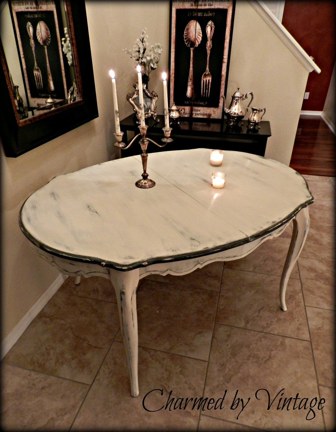 French provincial white shabby glam paris table reserved for lorena deposit only