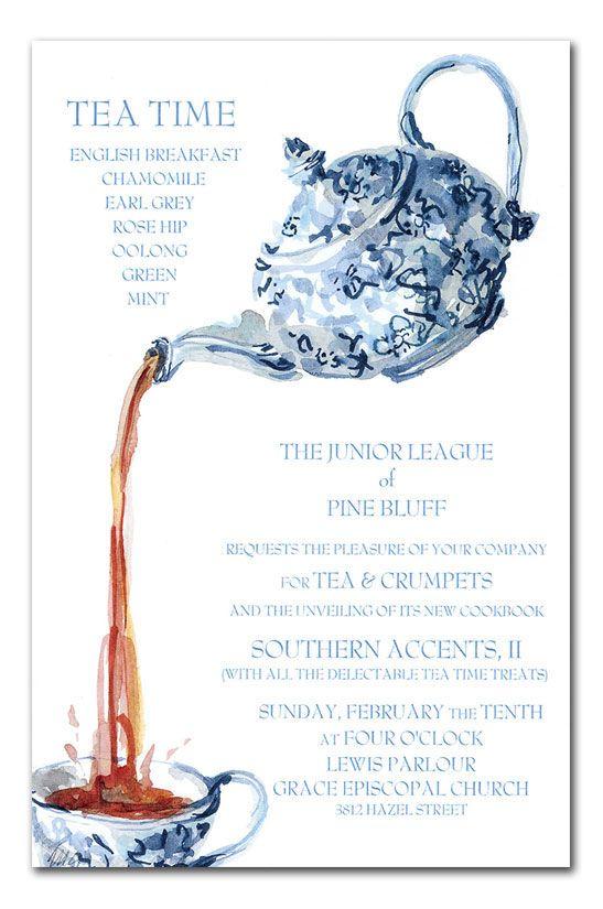 free bridal showertea party invitation templates Blue China Tea - tea party invitation template