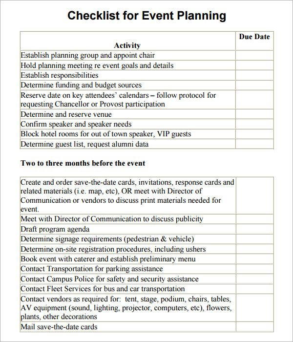 event planning checklist template Event Planning Pinterest - sample event checklist template