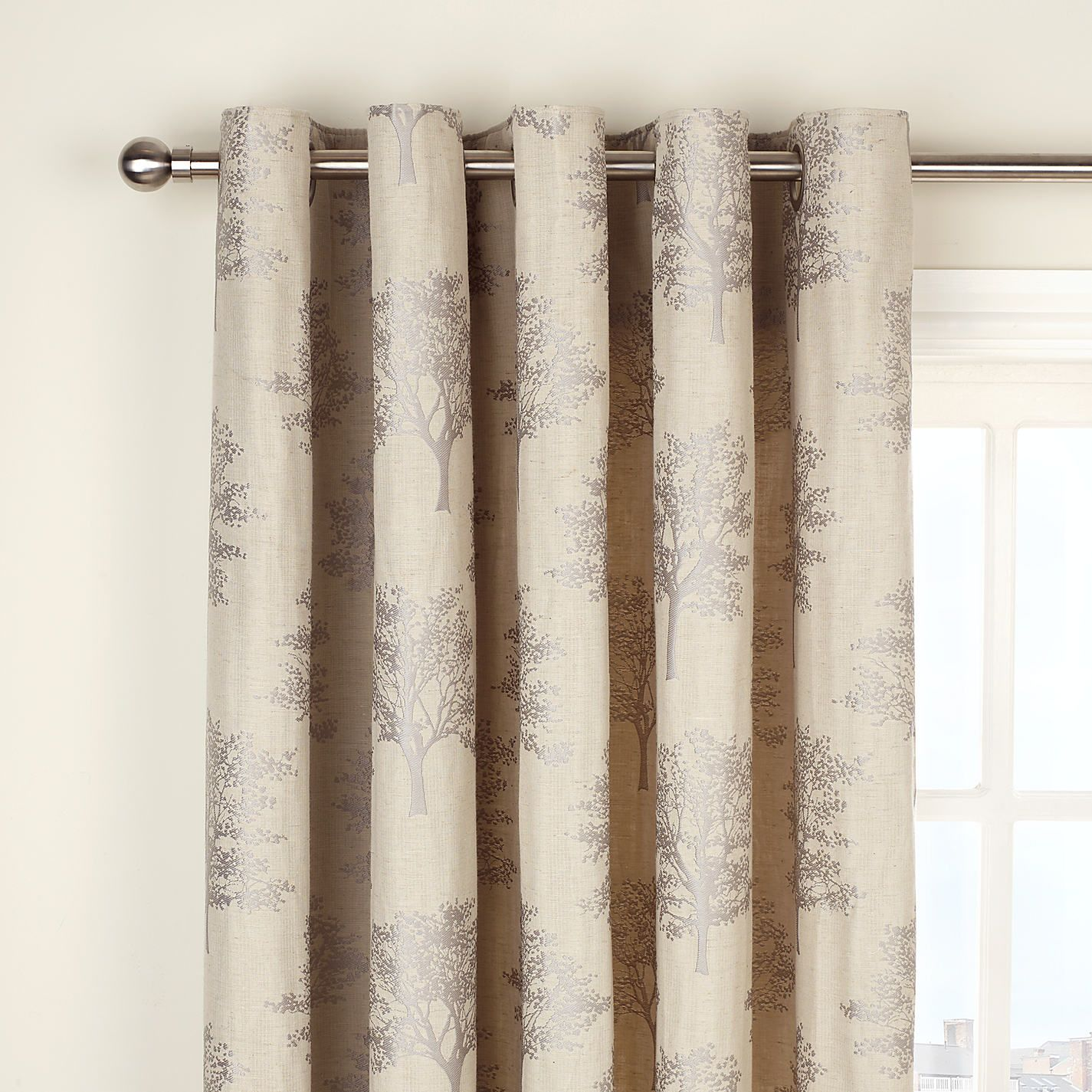 Buy Curtains John Lewis Oakley Trees Eyelet Lined Curtains Natural