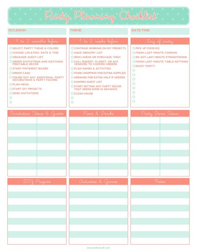 Free printable party planning checklist Party Inspiration - party guest list template