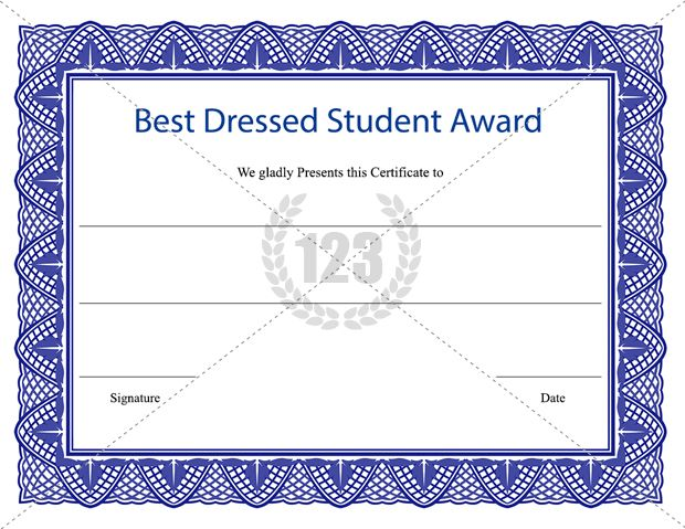 Best Dressed Student Award Certificate Template Download - merit certificate template