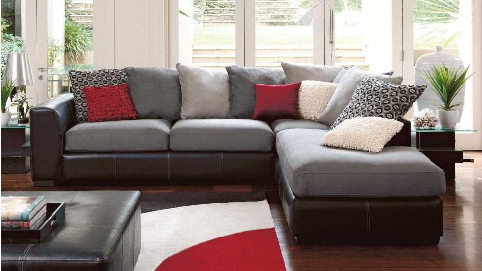 York Corner Fabric Lounge Suite with Chaise - Lounges - Living - living room chaise lounge