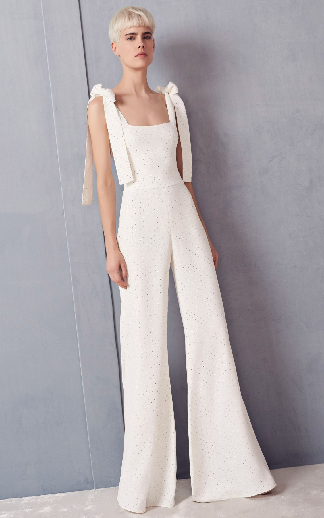 Hochzeit Jumpsuit White Bow Sleeve White Flare Wide Leg Jumpsuit By Alexis