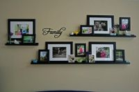 Family photo wall collage using frames and frame shelves ...