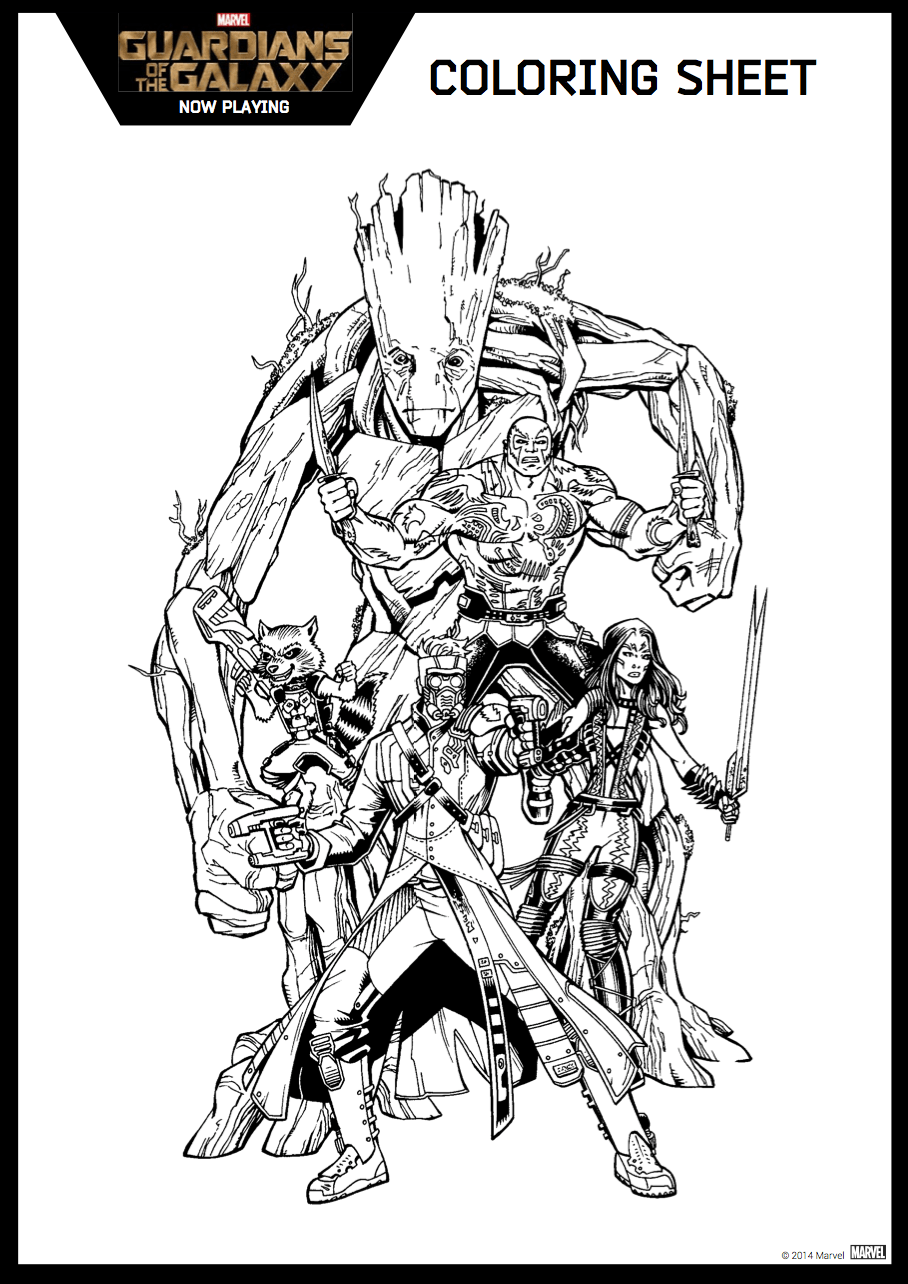 Guardians of the galaxy coloring sheet 6 png