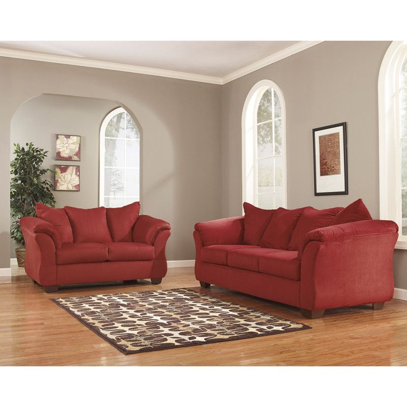 buy Signature Design by Ashley Darcy Living Room Set in Salsa - red living room chair
