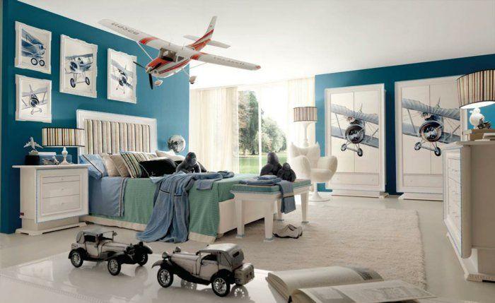 jungenzimmer gestalten weiß blaue einrichtung im kinderzimmer - kinderzimmer junge auto