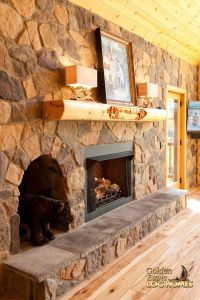 Log Home By Golden Eagle Log Homes - Stone Fireplace ...