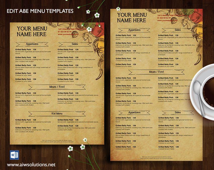 25+ unique Menu template word ideas on Pinterest Wedding program - free restaurant menu template word