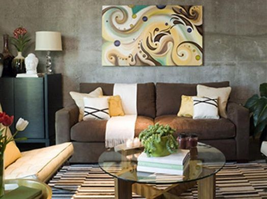 brown living room decorating ideas in stone-textured wall Living - decorating tips for living room