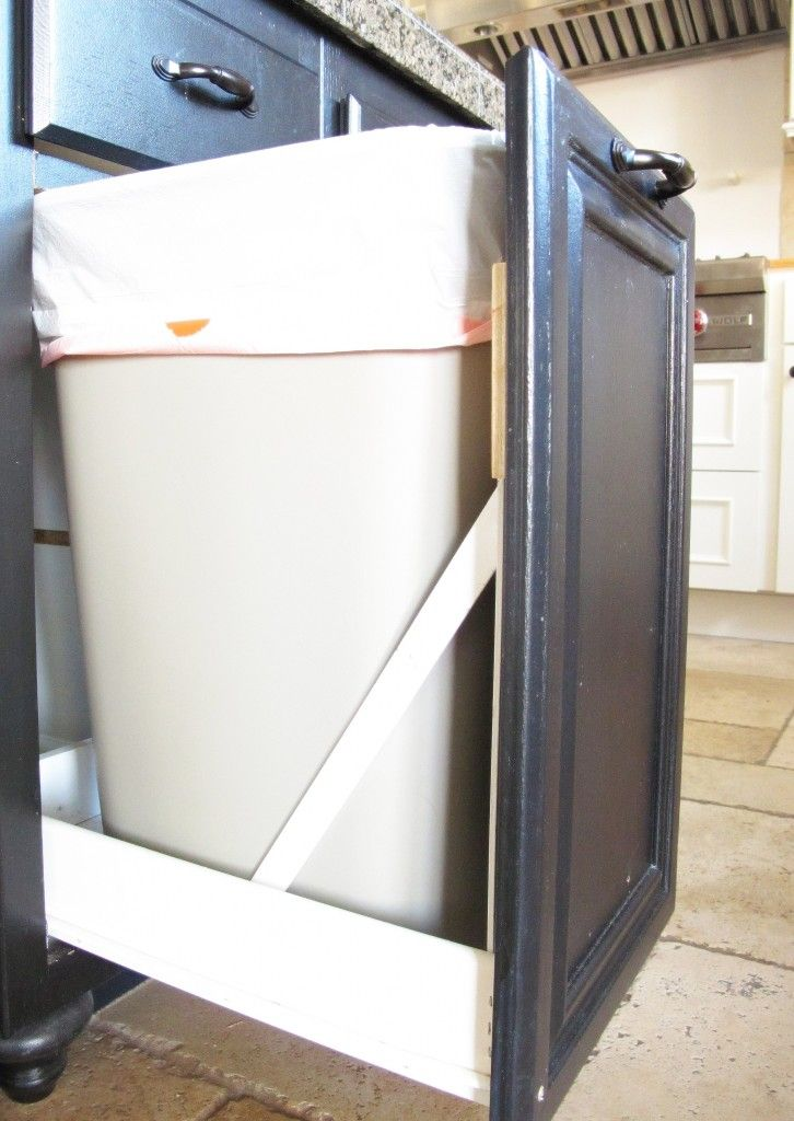Turn a door and a drawer into a pull out trash can Drawers - kitchen trash can ideas