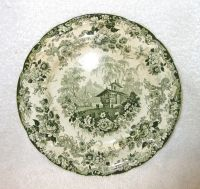 Antique MINTON Green & White Transferware Plate, GENEVESE ...