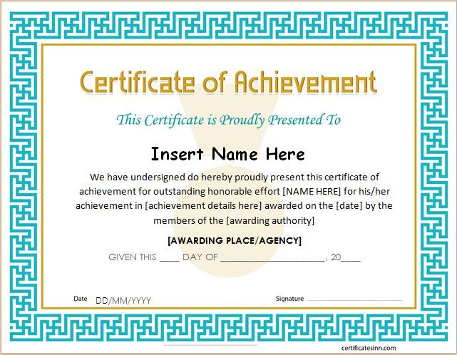 Certificate of Achievement Template for MS Word DOWNLOAD at http - certificate sample in word