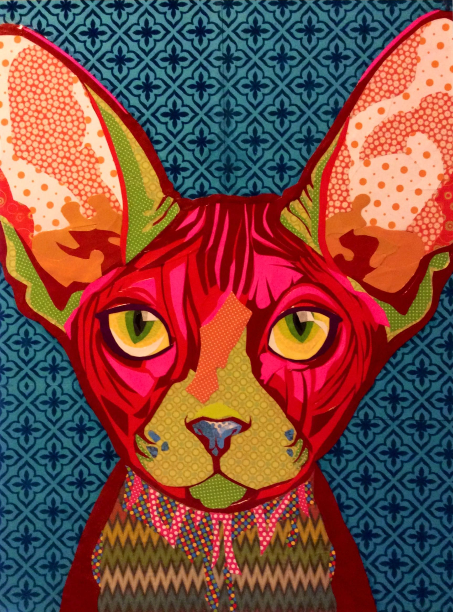 Scrapbook paper collage art collage art pink sphynx by laura yager