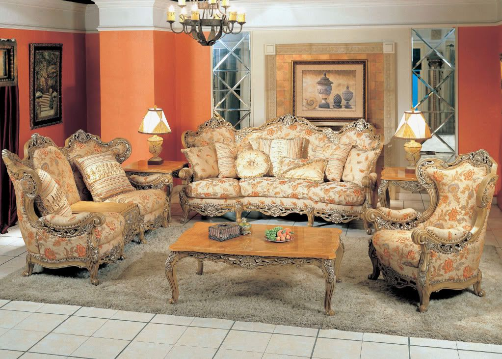 Lillian Luxury Sofa \ Love Seat Two Piece Formal Living Room - victorian living room furniture