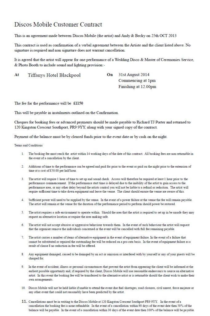 DJ Contracts - https\/\/discosmobile\/dj-contracts\/ Wedding DJ - dj contract template