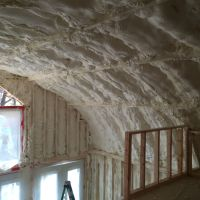 Spray foam insulation on ceiling of quonset hut. | My ...