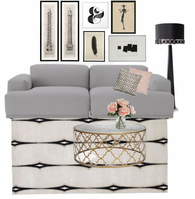 neutral and feminine living room - gray, black, white, cream, pink - gray and gold living room