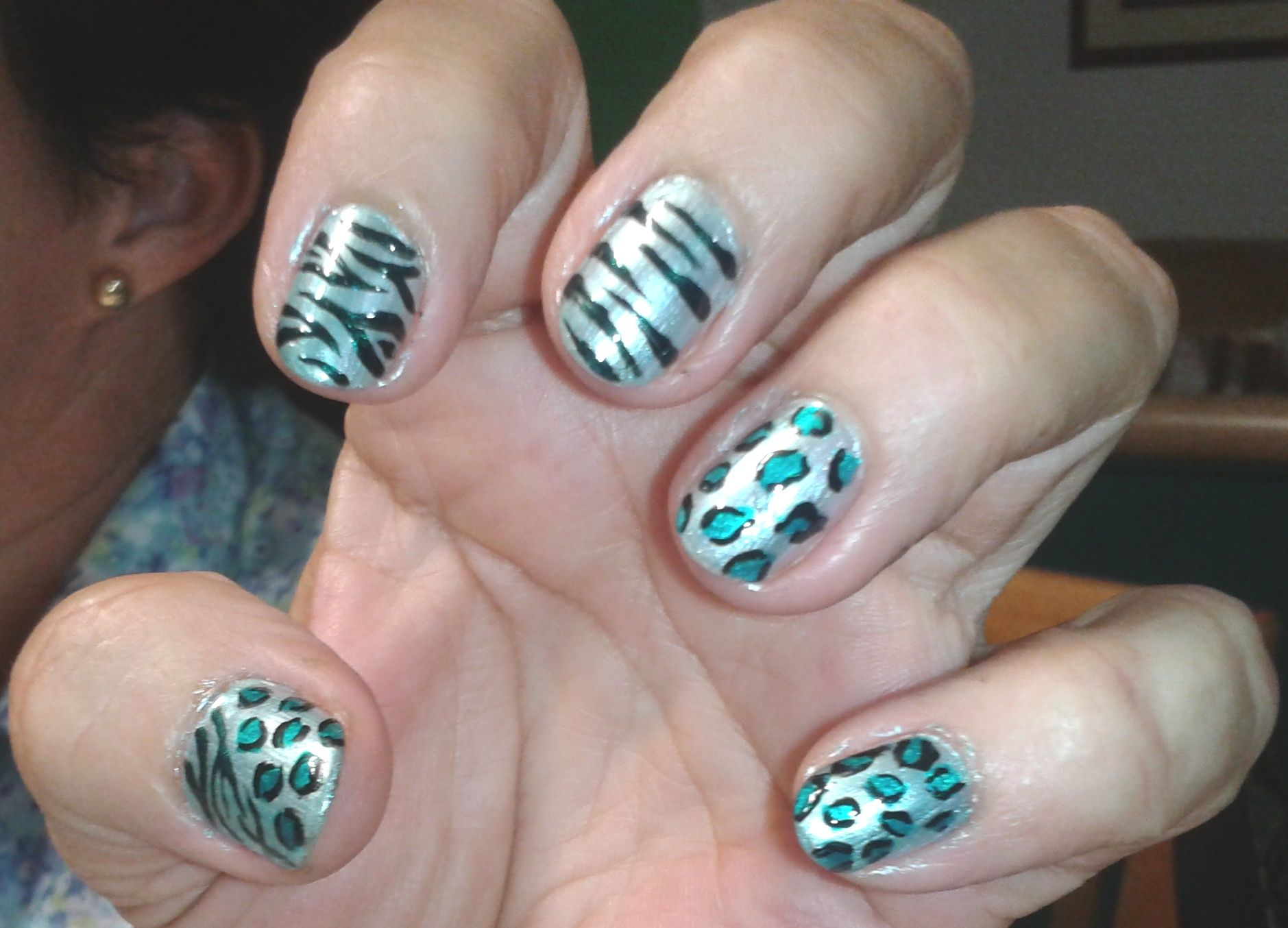 Uñas Decoradas Leopardo Leopardo Zebra Turquesa Uñas Decoradas Nail Art Animal